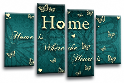 Home Quote Wall Art Print Teal Cream Love Picture